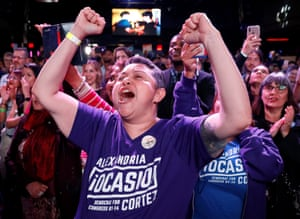 Supporters of Alexandria Ocasio-Cortez celebrate her midterm victory.