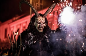 Zidlochovice, Czech RepublicPeople dressed as Krampus walk at the street during a festival