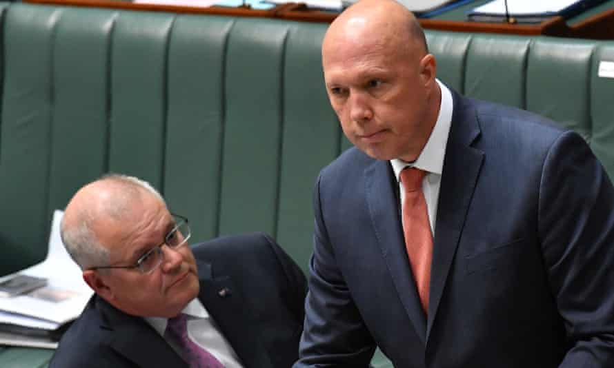 Australian minister for home affairs Peter Dutton and prime minister scott morrison