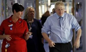 Boris Johnson visits the Royal Cornwall hospital in Truro.