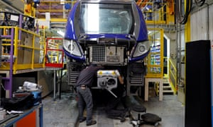 An employee works on a new regional transport train at the Bombardier plant in Crespin, near Valenciennes, northern France.