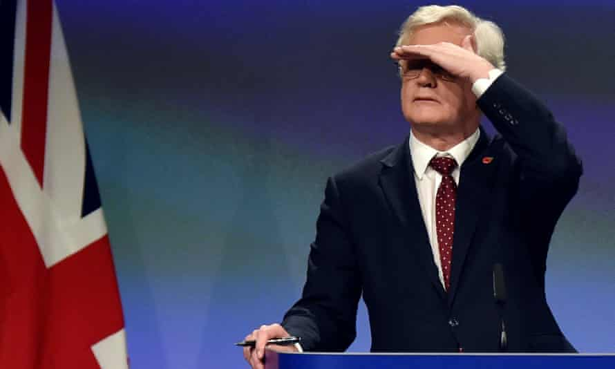 David Davis gestures as he adresses a joint news conference with EU's chief Brexit negotiator Barnier in BrusselsBritain's Secretary of State for Exiting the European Union David Davis gestures as he adresses a joint news conference with European Union's chief Brexit negotiator Michel Barnier (not on the picture) after the latest round of talks in Brussels, Belgium November 10, 2017. REUTERS/Eric Vidal
