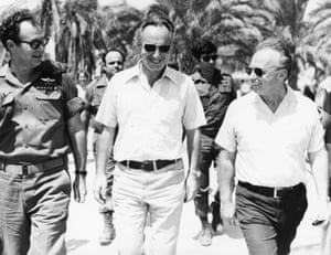 (L to R) Mordechai Gur, Peres, and Rabin during a tour of the forces on the Egyptian front during the six-day war in June 1967.