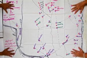 A map showing malaria monitoring posts
