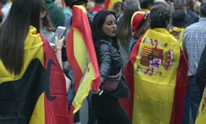 Pro-Spanish unity demonstrators march against the referendum in Barcelona on Saturday.