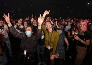 Amsterdam, Netherlands: people attend a concert at Ziggo Dome venue, which opened its doors to small groups of people that have tested negative for coronavirus