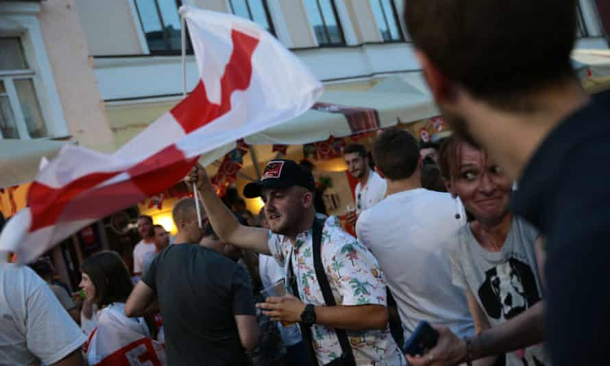 England fans outside a bar in Nizhny Novgorod ahead of their drubbing of Panama last month.