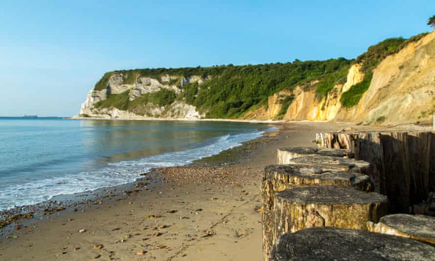 Whitecliff Bay, Isle of Wight, on a bright sunny day.
