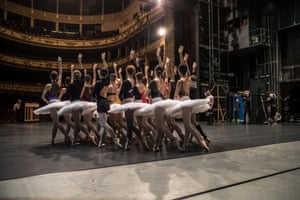 Dancers of the Czech national ballet perform during a rehearsal of Swan Lake at the National Theatre in Prague.