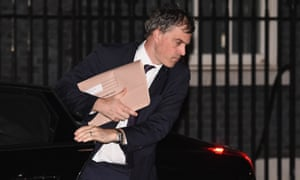 The chief whip, Julian Smith, arrives at Downing Street to read the draft Brexit documents