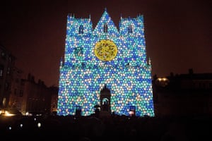 Unisson, by Helen Eastwood and Laurent Brun, is projected on to Saint-Jean Cathedral