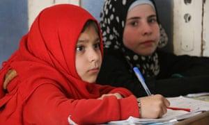 Girls in school in Idlib