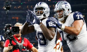 Dez Bryant celebrates after catching a second-half touchdown