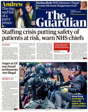 Guardian front page, Tuesday 19 November 2019