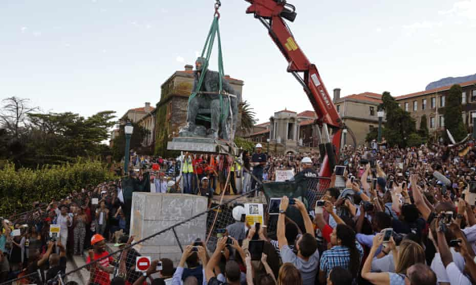 A statue of Cecil Rhodes being removed from the University of Cape Town campus, South Africa, 2015