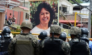 Hundreds of indigenous Hondurans march in 2016 in demanding justice for the murder of indigenous environmentalist Berta Caceres.