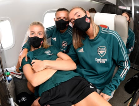 Arsenal players, meanwhile, on their way to the last eight.