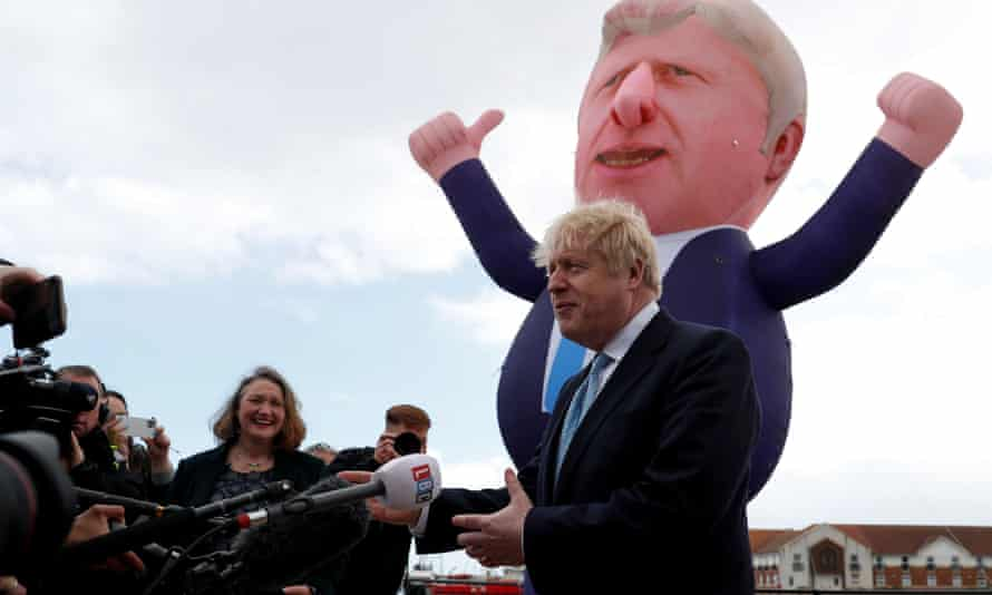 Boris Johnson at Jacksons Wharf marina, Hartlepool, 7 May.