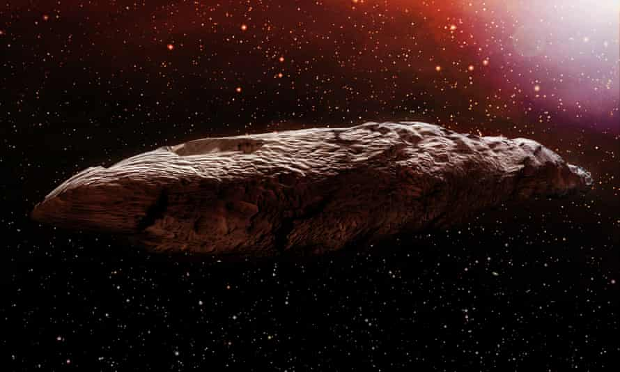 A 3D illustration of the interstellar object known as Oumuamua.