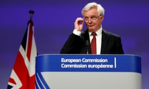 Britain's Secretary of State for Exiting the EU Davis holds a joint news conference with EU's chief Brexit negotiator Barnier in Brussels.