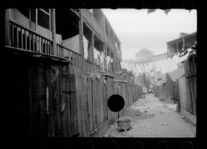 alleyway, with large black circle in centre
