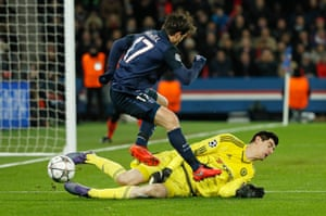 Thibaut Courtois saves from Maxwell.