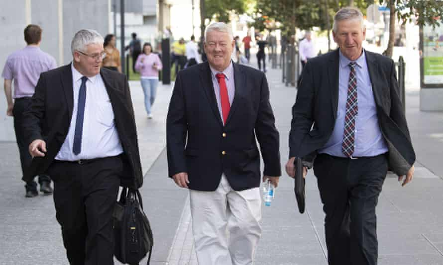 File photo of Neill, John and Denis Wagner outside the supreme court in Brisbane, 4 September 2019