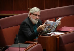 Greens senator Andrew Bartlett during question time in the Senate this afternoon.
