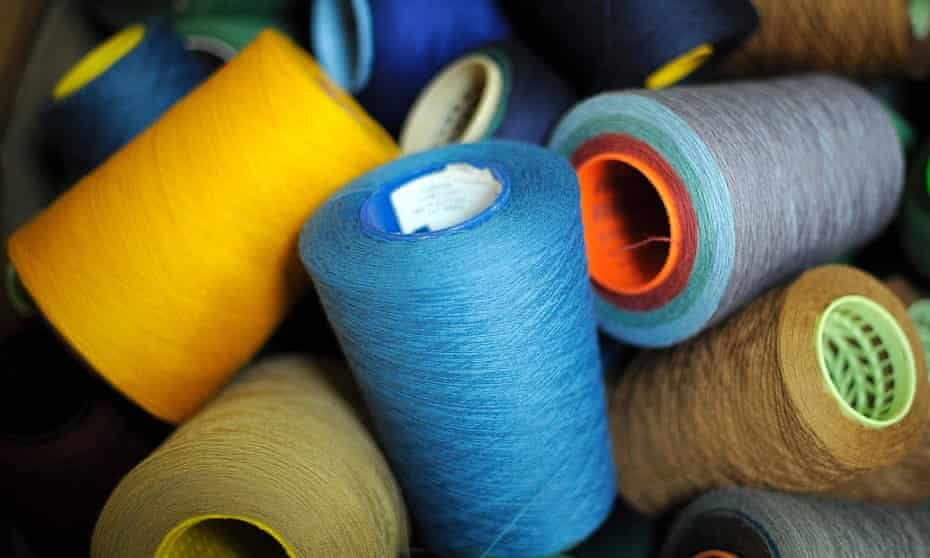 Spools of wool at Lochcarron Tartan factory, in Selkirk, Scotland