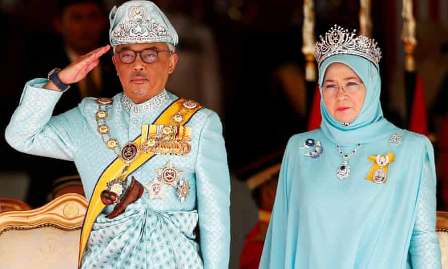 FILE PHOTO: Malaysia's new King Sultan Abdullah Sultan Ahmad Shah and Queen Tunku Azizah Aminah Maimunah attend a welcoming ceremony at the Parliament House in Kuala Lumpur, Malaysia January 31, 2019. REUTERS/Lai Seng Sin/File Photo