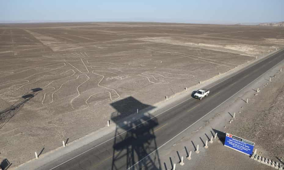 The Pan-American highway cuts through the Nazca Lines which are some 450km south of Lima, the capital of Peru.