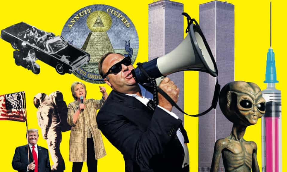 composite: Donald Trump, Hillary Clinton, aliens, Alex Jones, JFK assassination, moon landing, World Trade Center, eye in the pyramid, vaccination syringe