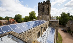 Solar panels on a church roof in Melbourne, Derbyshire