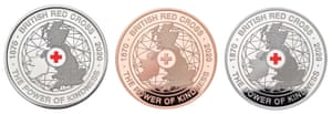 A commemorative GBP5 coin that was issued to 150 Red Cross staff and volunteers to celebrate the 150th anniversary