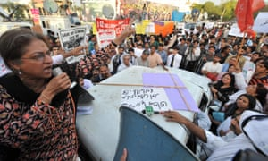 Jahangir addresses a 2009 rally in Lahore, protesting against the public flogging of a veiled woman.