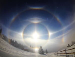 magnificant halo display is formed by the refraction and reflection of sunlight through diamond dust at an altitude of 1100m on Mount Keilberg in the Ore Mountains on the German/Czech border