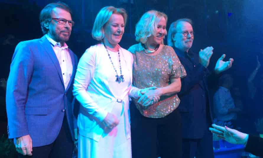 Together on stage for the first time in 30 years during the opening of Mamma Mia! The Party in Stockholm, Sweden, January 2016.