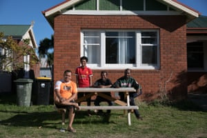 Some of the seasonal workers at their accommodation at Burlington Berries