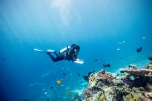 Ahmadia surveys a reef in the Selat Dampier MPA, Raja Ampat, West Papua. Reef data that is recorded includes temperature history, proximity to human settlement and depth.