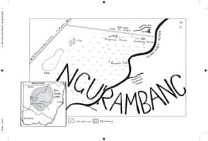 Hand-drawn map of Ngurambang, an illustration from the Yield.