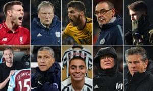 Clockwise from top left: James Milner, Neil Warnock, Matt Doherty, Maurizio Sarri, Denis Suárez, Claude Puel, Claudio Ranieri, Miguel Almirón, Chris Hughton and Peter Crouch.