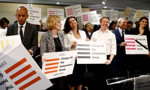 (L-R) Chuka Umunna, Anna Soubry, Heidi Allen and Chris Leslie Independent MP's of the new pro-EU political party, Change UK pose during the launch of their European election campaign in Bristol on April 23, 2019. - Britain's breakaway anti-Brexit party, Change UK, imploded on Tuesday just months after its formation with the resignations of six of its 11 MPs. The departing MPs include leader Heidi Allen and fellow ex-Tory Sarah Wollaston, and former Labour MPs Luciana Berger, Gavin Shuker, Angela Smith and Chuka Umunna. Allen was replaced as leader by fellow ex-Tory Anna Soubry