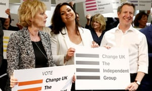 File photo from 23 April 2019 (L-R) Anna Soubry, Heidi Allen and Chris Leslie of the Independent Group for Change