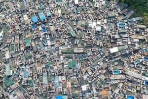 Huai'an, China. An aerial view of fishing boats waiting to be dismantled in east China's Jiangsu province
