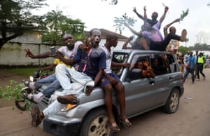 Supporters of Felix Tshisekedi celebrate his victory on the streets of Kinshasa.