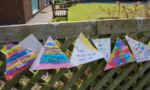 Messages to loved ones tied to the fence outside a nursing home during the Coronavirus lockdown, Ashbourne, Derbyshire