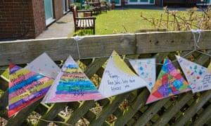 Messages at a British nursing home during the coronavirus lockdown.