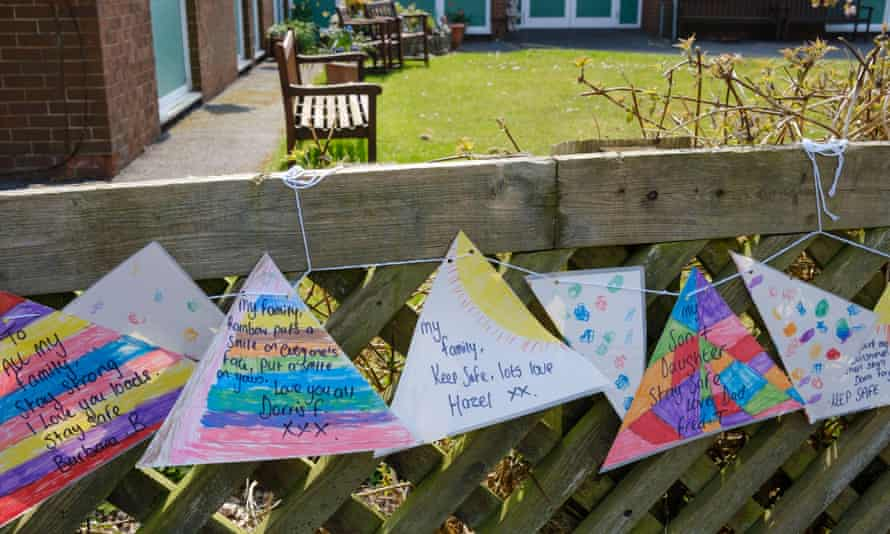 Messages to loved ones tied to the fence outside a nursing home during the Coronavirus lockdown, Ashbourne, Derbyshire.