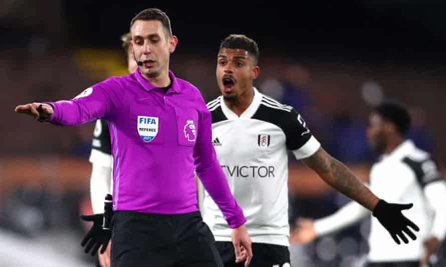 Mario Lemina protests after referee David Coote disallows Fulham's leveller.
