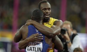 Usain Bolt embraces Justin Gatlin after the final of the men's 100m final.